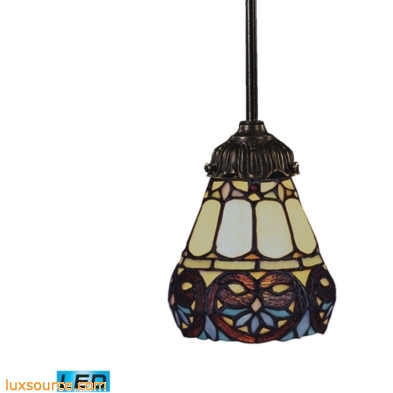 Mix-N-Match 1 Light LED Pendant In Tiffany Bronze And Multicolor Glass 078-TB-21-LED