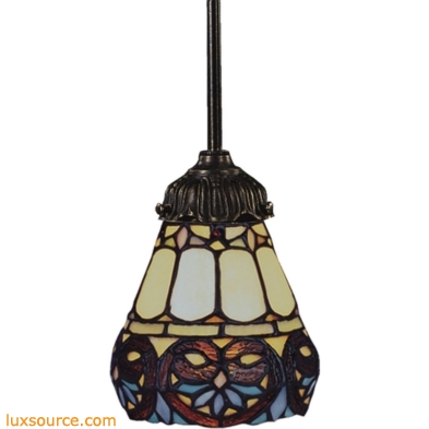 Mix-N-Match 1 Light Pendant In Tiffany Bronze And Multicolor Glass 078-TB-21