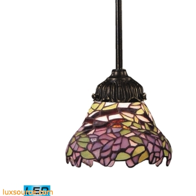 Mix-N-Match 1 Light LED Pendant In Tiffany Bronze And Multicolor Glass 078-TB-28-LED