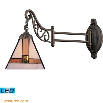 Mix-N-Match 1 Light LED Swingarm In Tiffany Bronze And Multicolor Glass 079-TB-01-LED