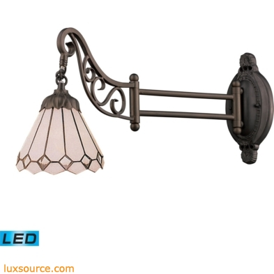 Mix-N-Match 1 Light LED Swingarm In Tiffany Bronze And Multicolor Glass 079-TB-04-LED