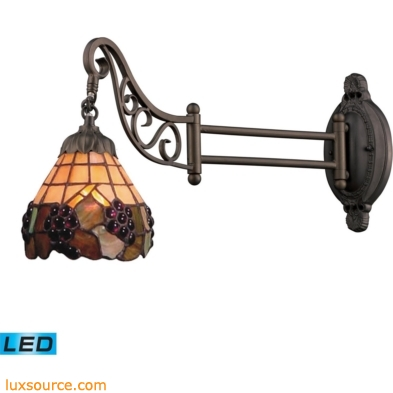 Mix-N-Match 1 Light LED Swingarm In Vintage Antique With Stained Glass 079-TB-07-LED