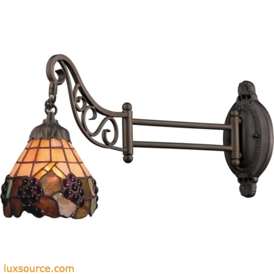 Mix-N-Match 1 Light Swingarm In Vintage Antique With Stained Glass 079-TB-07