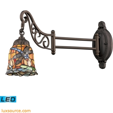 Mix-N-Match 1 Light LED Swingarm In Tiffany Bronze And Multicolor Glass 079-TB-12-LED