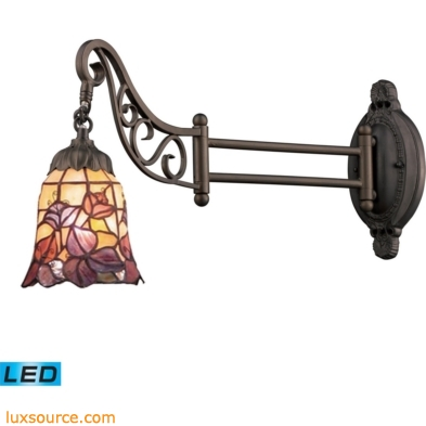 Mix-N-Match 1 Light LED Swingarm In Tiffany Bronze And Multicolor Glass 079-TB-17-LED