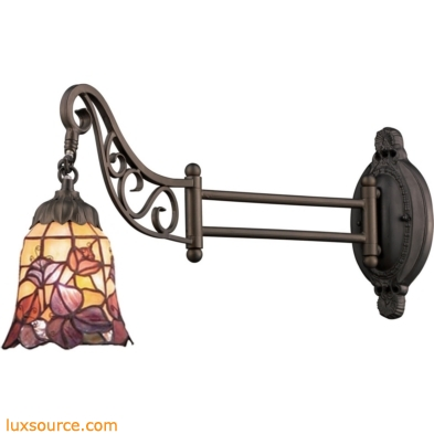 Mix-N-Match 1 Light Swingarm In Tiffany Bronze And Multicolor Glass 079-TB-17
