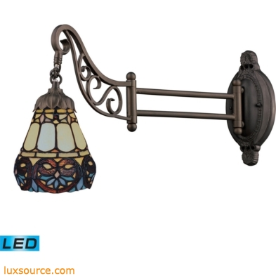 Mix-N-Match 1 Light LED Swingarm In Tiffany Bronze And Multicolor Glass 079-TB-21-LED