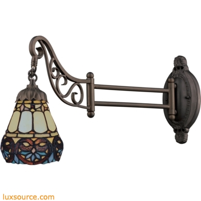 Mix-N-Match 1 Light Swingarm In Tiffany Bronze And Multicolor Glass 079-TB-21