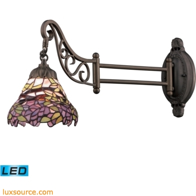 Mix-N-Match 1 Light LED Swingarm In Tiffany Bronze And Multicolor Glass 079-TB-28-LED