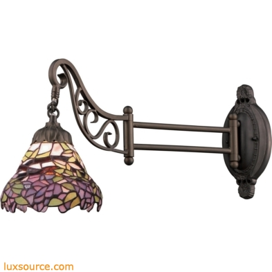 Mix-N-Match 1 Light Swingarm In Tiffany Bronze And Multicolor Glass 079-TB-28