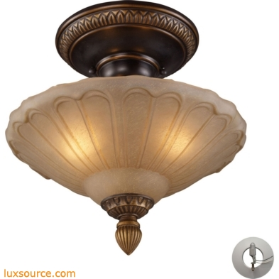 Restoration Flushes 3 Light Semi Flush In Antique Golden Bronze - Includes Recessed Lighting Kit 08092-AGB-LA