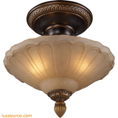 Restoration Flushes 3 Light Semi Flush In Antique Golden Bronze 08092-AGB