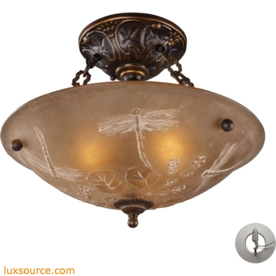 Restoration Flushes 3 Light Semi Flush In Antique Golden Bronze - Includes Recessed Lighting Kit 08096-AGB-LA