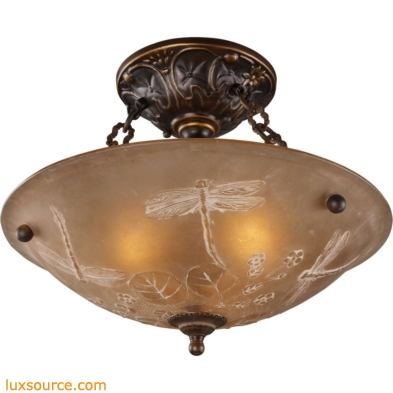 Restoration Flushes 3 Light Semi Flush In Antique Golden Bronze 08096-AGB