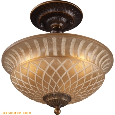 Restoration Flushes 3 Light Semi Flush In Antique Golden Bronze 08097-AGB