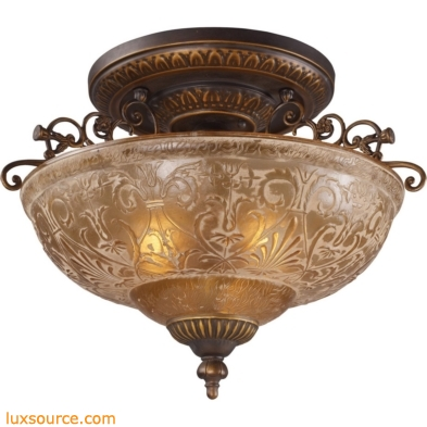 Restoration Flushes 3 Light Semi Flush In Antique Golden Bronze 08099-AGB