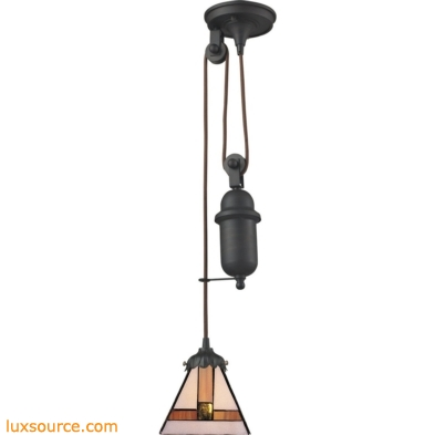 Mix-N-Match 1 Light Pulldown Pendant In Tiffany Bronze 081-TB-01