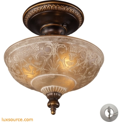 Restoration Flushes 3 Light Semi Flush In Antique Golden Bronze - Includes Recessed Lighting Kit 08100-AGB-LA