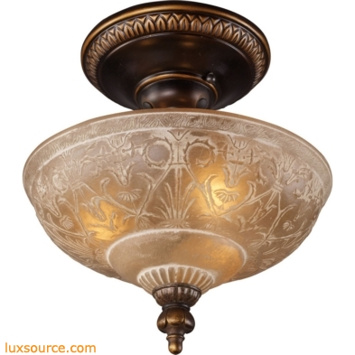 Restoration Flushes 3 Light Semi Flush In Antique Golden Bronze 08100-AGB