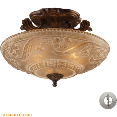 Restoration Flushes 3 Light Semi Flush In Antique Golden Bronze - Includes Recessed Lighting Kit 08101-AGB-LA