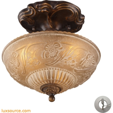 Restoration Flushes 3 Light Semi Flush In Antique Golden Bronze - Includes Recessed Lighting Kit 08103-AGB-LA