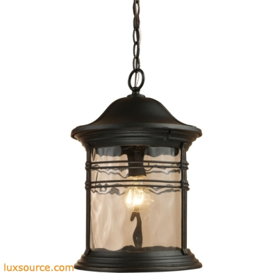 Madison 1 Light Outdoor Pendant In Matte Black