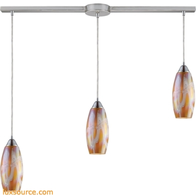 Iridescence 3 Light Pendant In Satin Nickel And Golden Glass 10076/3L-GI