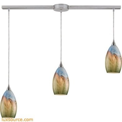 Geologic 3 Light Pendant In Satin Nickel And Multicolor Glass 10077/3L