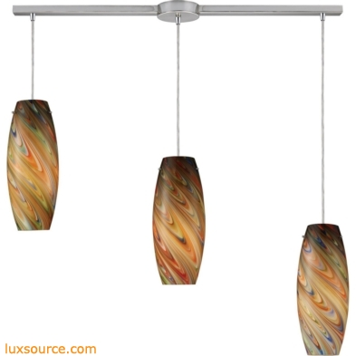 Vortex 3 Light Pendant In Satin Nickel And Rainbow Glass 10079/3L-RV