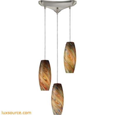 Vortex 3 Light Pendant In Satin Nickel And Rainbow Glass 10079/3RV