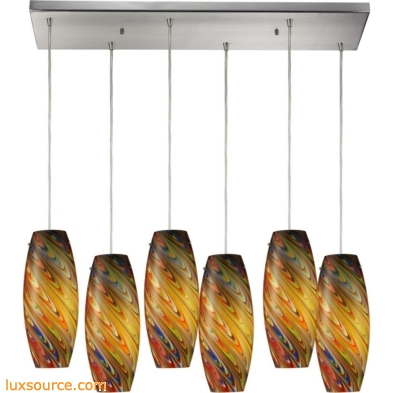 Vortex 6 light Pendant In Satin Nickel And Rainbow Glass 10079/6RC-RV