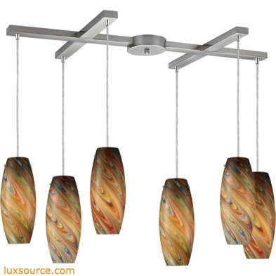 Vortex 6 Light Pendant In Satin Nickel And Rainbow Glass 10079/6RV