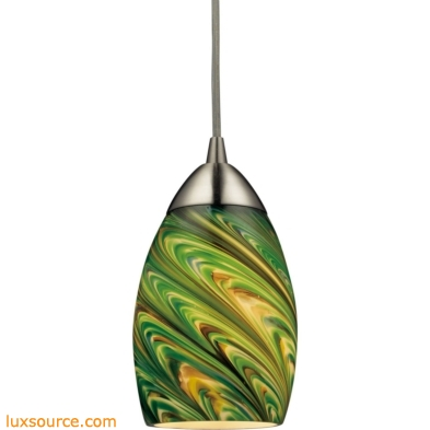 Mini Vortex 1 Light LED Pendant In Satin Nickel And Evergreen Glass 10089/1EVG-LED