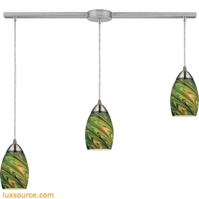 Mini Vortex 3 Light Pendant In Satin Nickel And Evergreen Glass 10089/3L-EVG