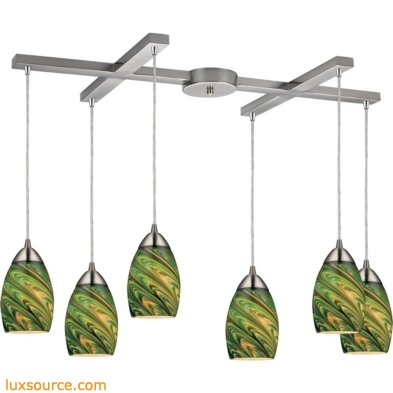 Mini Vortex 6 Light Pendant In Satin Nickel And Evergreen Glass 10089/6EVG