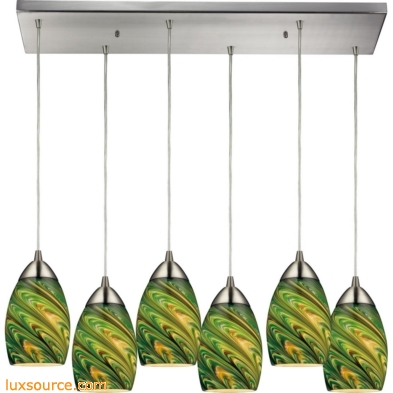 Mini Vortex 6 Light Pendant In Satin Nickel And Evergreen Glass 10089/6RC-EVG