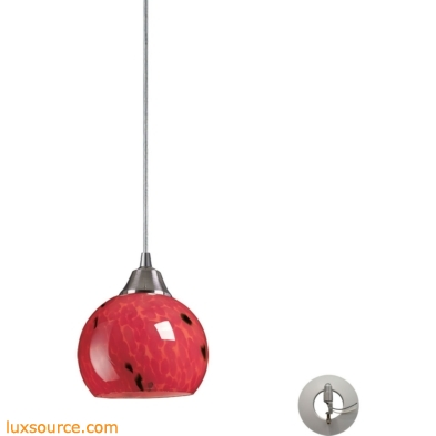 Mela 1 Light Pendant In Satin Nickel And Fire Red - Includes Recessed Lighting Kit 101-1FR-LA