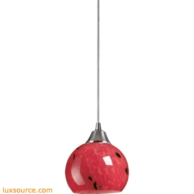 Mela 1 Light LED Pendant In Satin Nickel And Fire Red Glass 101-1FR-LED