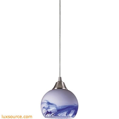Mela 1 Light LED Pendant In Satin Nickel And Mountain Glass 101-1MT-LED