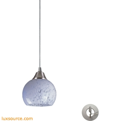Mela 1 Light Pendant in Satin Nickel And Snow White - Includes Recessed Lighting Kit 101-1SW-LA