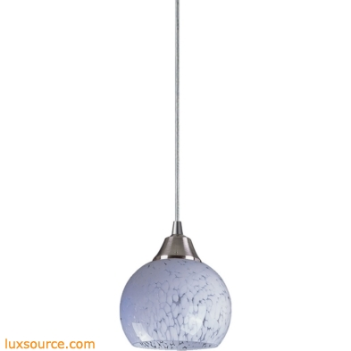 Mela 1 Light LED Pendant In Satin Nickel And Snow White Glass 101-1SW-LED