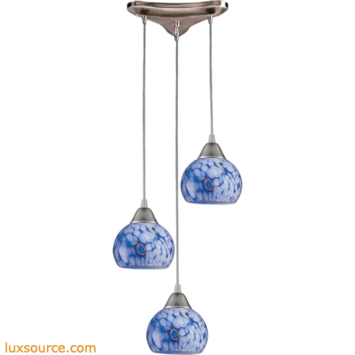 Mela 3 Light Pendant in Satin Nickel And Starburst Blue Glass 101-3BL