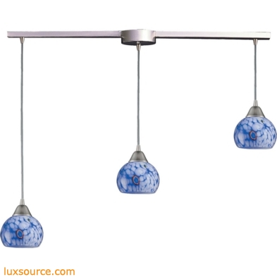 Mela 3 Light Pendant In Satin Nickel And Starburst Blue Glass 101-3L-BL