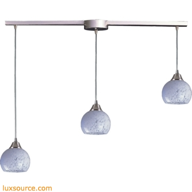 Mela 3 Light Pendant In Satin Nickel And Snow White 101-3L-SW