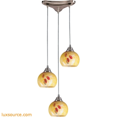 Mela 3 Light Pendant In Satin Nickel And Yellow Blaze 101-3YW