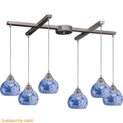 Mela 6 Light Pendant In Satin Nickel And Starburst Blue Glass 101-6BL