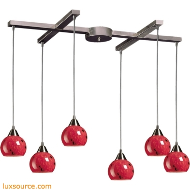 Mela 6 Light Pendant In Satin Nickel And Fire Red Glass 101-6FR