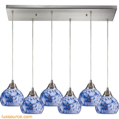 Mela 6 Light Pendant In Satin Nickel And Starburst Blue Glass 101-6RC-BL