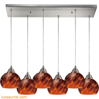 Mela 6 Light Pendant In Satin Nickel And Espresso Glass 101-6RC-ES