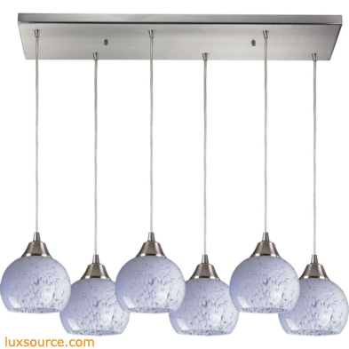 Mela 6 Light Pendant In Satin Nickel And Snow White Glass 101-6RC-SW